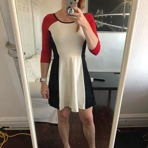 Flare colour block dress